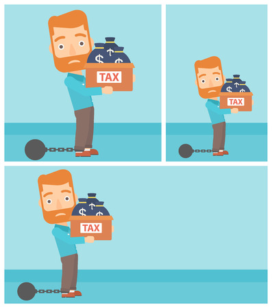 ball and chain: Chained to a large ball hipster businessman with the beard carrying heavy box with bags full of taxes. Vector flat design illustration. Square, horizontal, vertical layouts.
