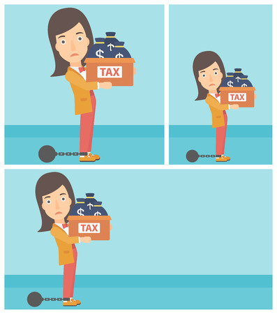 chain ball: Chained to a large ball business woman carrying heavy box with bags full of taxes. Vector flat design illustration. Square, horizontal, vertical layouts.