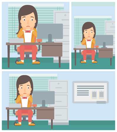 A tired woman sitting at workplace in front of computer monitor and clutching her head. Vector flat design illustration. Square, horizontal, vertical layouts.