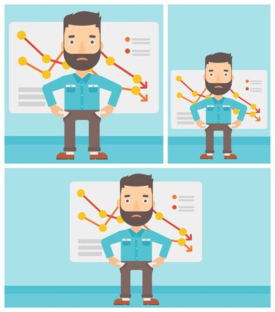 empty pocket: Hipster businessman with the beard showing his epmty pockets on the background of board with decreasing chart. Bankruptcy concept. Vector flat design illustration. Square, horizontal, vertical layouts Illustration