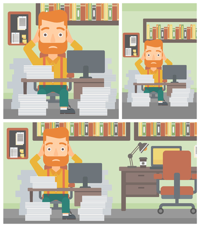heaps: A hipster businessman in despair sitting at workplace with heaps of papers and clutching his head. Vector flat design illustration. Square, horizontal, vertical layouts.