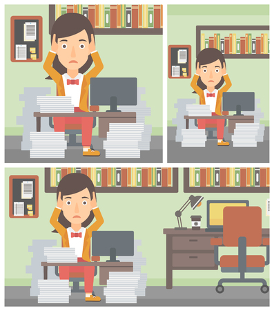 heaps: Young business woman in despair sitting at workplace with heaps of papers and clutching her head. Vector flat design illustration. Square, horizontal, vertical layouts.