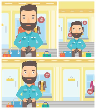 empty wallet: Young hipster man with the beard showing his wallet purse on the background of showcase of a store. Vector flat design illustration. Square, horizontal, vertical layouts.