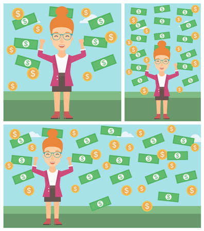 money rain: Young business woman with raised hands standing under money rain. Successful business concept. Vector flat design illustration. Square, horizontal, vertical layouts. Illustration