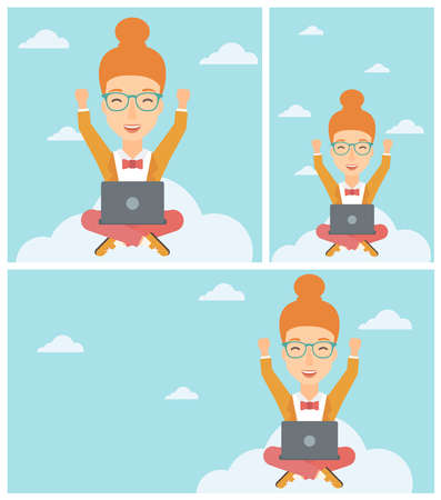 person computer: A happy woman with raised hands sitting on a cloud with a laptop. Vector flat design illustration. Square, horizontal, vertical layouts. Illustration
