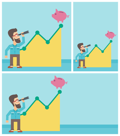uprising: Young hipster businessman with the beard looking through spyglass at a piggy bank standing at the top of growth graph. Vector flat design illustration. Square, horizontal, vertical layouts.