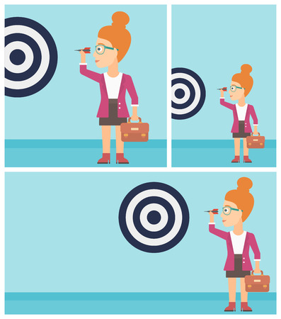 aiming: Young business woman with a briefcase aiming at a target board. Vector flat design illustration. Square, horizontal, vertical layouts.