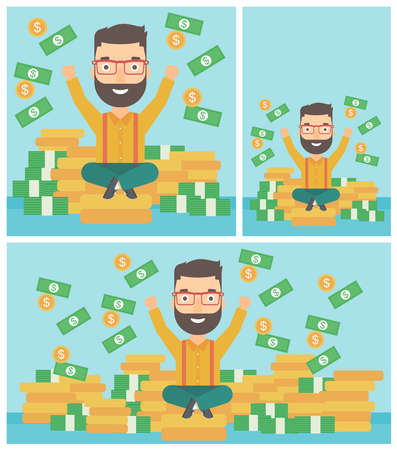 money flying: Happy hipster businessman with raised hands sitting on golden coins and money flying around. Successful business concept. Vector flat design illustration. Square, horizontal, vertical layouts.