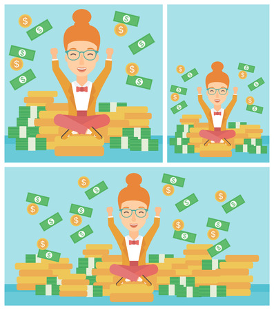 money flying: Happy smiling business woman with raised hands sitting on golden coins and money flying around. Successful business concept. Vector flat design illustration. Square, horizontal, vertical layouts. Illustration