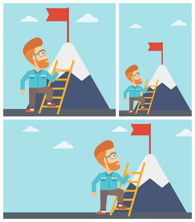 mountain top: Young hipster businessman standing with ladder near the mountain. Businessman climbing the mountain with a red flag on the top. Vector flat design illustration. Square, horizontal, vertical layouts.