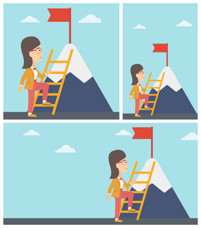 mountain cartoon: Young business woman standing with ladder near the mountain. Business woman climbing the mountain with a red flag on the top. Vector flat design illustration. Square, horizontal, vertical layouts. Illustration