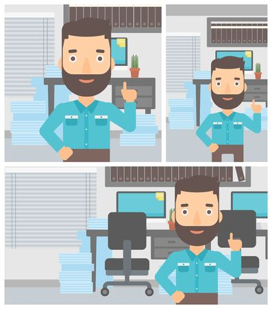 forefinger: Hipster businessman with the beard standing in the office and pointing up with his forefinger. Business idea concept. Vector flat design illustration. Square, horizontal, vertical layouts.