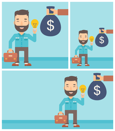 exchanging: Young hipster businessman with the beard exchanging his idea bulb to money bag. Successful business idea concept. Vector flat design illustration. Square, horizontal, vertical layouts. Illustration