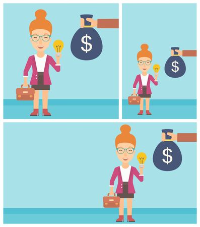 exchanging: Young business woman with briefcase exchanging her idea bulb to money bag. Successful business idea concept. Vector flat design illustration. Square, horizontal, vertical layouts. Illustration