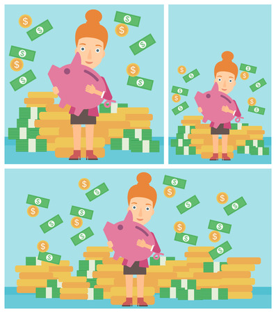 money rain: Young business woman holding a big piggy bank in hands under money rain on the background of stacks of golden coins. Vector flat design illustration. Square, horizontal, vertical layouts.