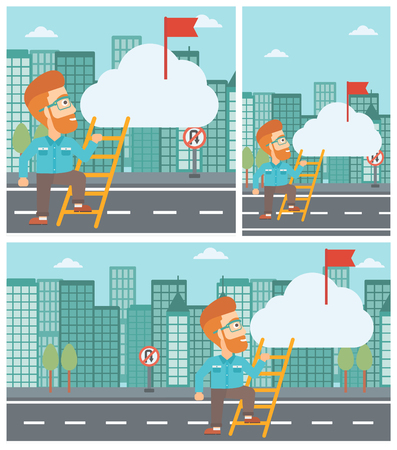 stair climber: Young hipster businessman with the beard climbing up the ladder to get the red flag on the top of the cloud. Vector flat design illustration. Square, horizontal, vertical layouts. Illustration