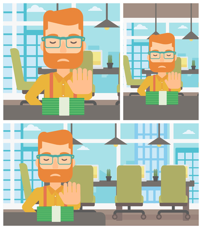 moving office: Young hipster man with the beard sitting at the table in office and moving dollar bills away. Vector flat design illustration. Square, horizontal, vertical layouts. Illustration