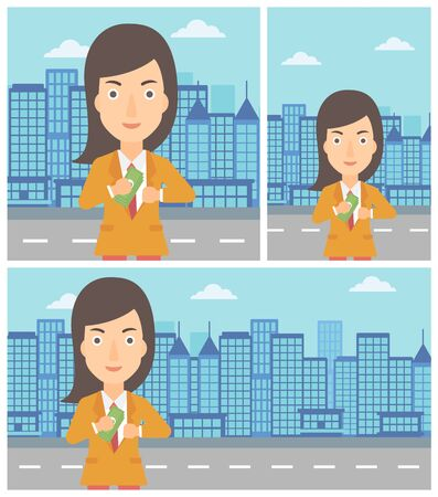 putting money in pocket: Young business woman putting money in her pocket on a city background. Vector flat design illustration. Square, horizontal, vertical layouts.