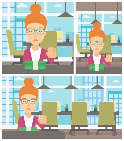 moving office: Young business woman sitting at the table in office and moving dollar bills away. Vector flat design illustration. Square, horizontal, vertical layouts.