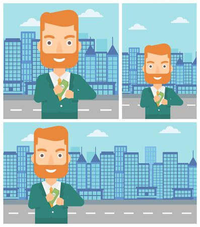 putting money in pocket: Young hipster businessman with the beard putting money in his pocket on a city background. Vector flat design illustration. Square, horizontal, vertical layouts. Illustration