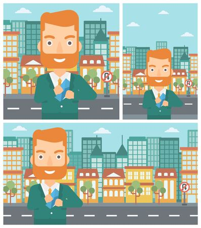 bribery: Young hipster businessman with the beard putting an envelope in his pocket on a city background. Vector flat design illustration. Square, horizontal, vertical layouts.