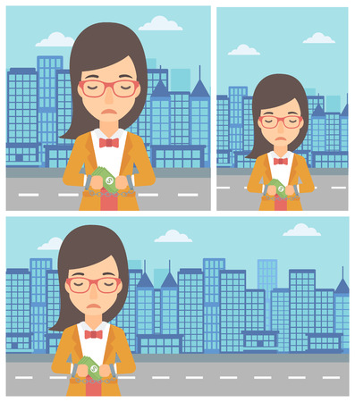 handcuffs woman: Young business woman in handcuffs with money in hands on the background of modern city. Business woman handcuffed for crime. Vector flat design illustration. Square, horizontal, vertical layouts.