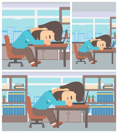exhaustion: Tired hipster businessman with the beard sleeping on laptop keyboard in the office. Businessman resting at workplace. Vector flat design illustration. Square, horizontal, vertical layouts.