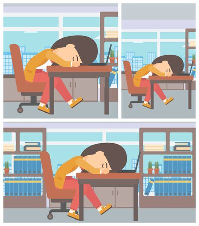 Tired young business woman sleeping on laptop keyboard in the office. Business woman resting at workplace. Vector flat design illustration. Square, horizontal, vertical layouts.