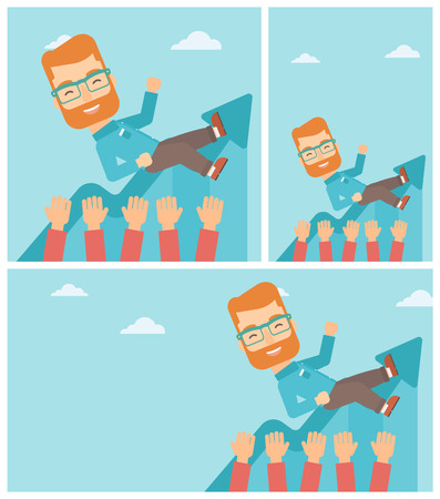 hands lifted up: Young hipster businessman with the beard get thrown into the air by coworkers during celebration. Successful business concept. Vector flat design illustration. Square, horizontal, vertical layouts.