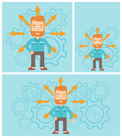 career choices: A hipster man with the beard with many arrows around his head standing on background with cogwheels. Concept of career choices. Vector flat design illustration. Square, horizontal, vertical layouts. Illustration