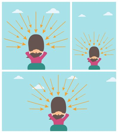 Rear view of a sitting woman with some arrows poinded to her head. Vector flat design illustration. Square, horizontal, vertical layouts.