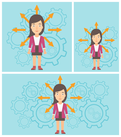 career choices: Young woman with many arrows around her head standing on a blue background with cogwheels. Concept of career choices. Vector flat design illustration. Square, horizontal, vertical layouts.