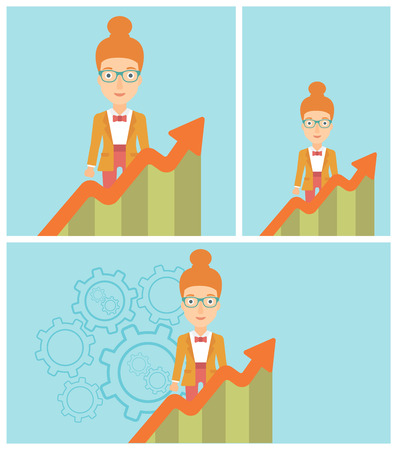 business woman standing: Young business woman standing behind growing chart. Successful business concept. Vector flat design illustration. Square, horizontal, vertical layouts.