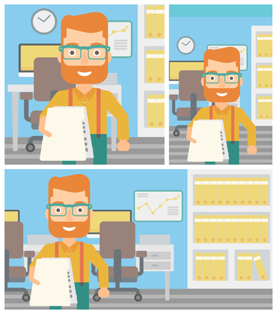 Young hipster businessman giving a resume in office. Man giving to the employer his curriculum vitae. Job interview concept. Vector flat design illustration. Square, horizontal, vertical layouts. Vectores