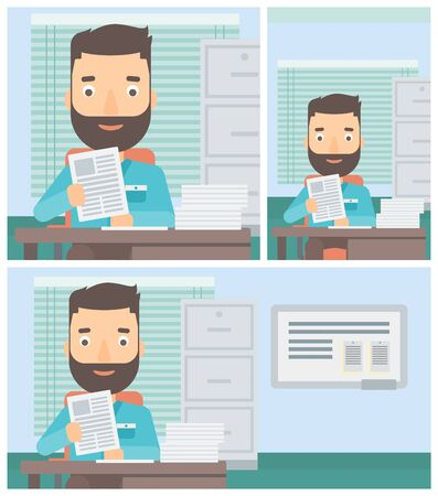 human resources manager: Hipster human resources manager reading application portfolios in the office. Concept of recruitment of staff, job interview. Vector flat design illustration. Square, horizontal, vertical layouts.