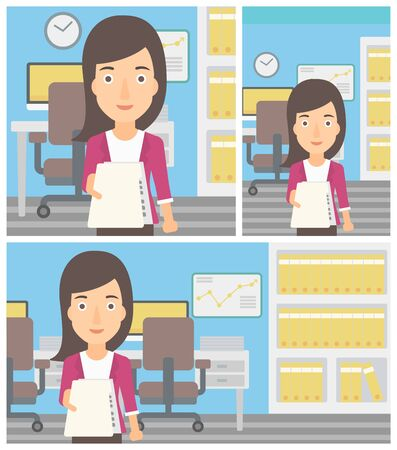 employer: Young business woman giving a resume in office. Woman giving to the employer her curriculum vitae. Job interview concept. Vector flat design illustration. Square, horizontal, vertical layouts. Illustration
