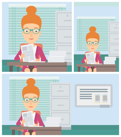 human resources manager: Female human resources manager reading application portfolios in the office. Concept of recruitment of staff, job interview. Vector flat design illustration. Square, horizontal, vertical layouts.