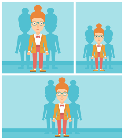 stand out from the crowd: Young woman standing with some shadows behind her. Candidat for a position stand out from crowd. Concept of staff recruitment. Vector flat design illustration. Square, horizontal, vertical layouts.