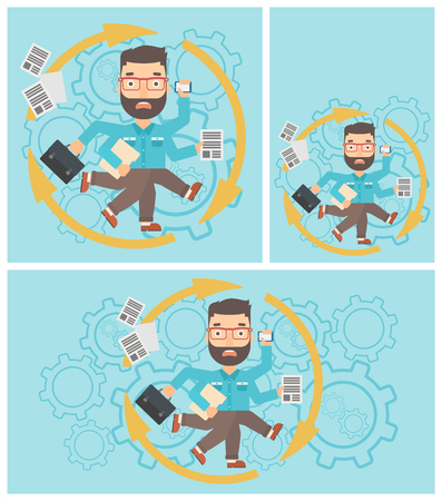 multitasking: Hipster businessman with many legs and hands holding papers, briefcase, smartphone. Multitasking and productivity concept. Vector flat design illustration. Square, horizontal, vertical layouts. Illustration