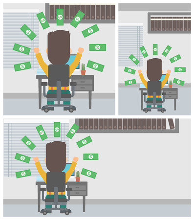 money rain: Happy businessman with raised hands celebrating while sitting at workplace under money rain. Successful business concept. Vector flat design illustration. Square, horizontal, vertical layouts.