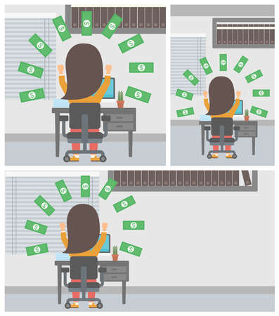 money rain: Happy business woman with raised hands celebrating while sitting at workplace under money rain. Successful business concept. Vector flat design illustration. Square, horizontal, vertical layouts.