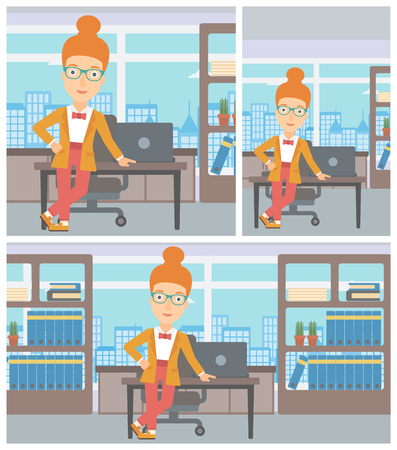 business woman standing: Young confident business woman leaning on a table in the office. Young smiling business woman standing in the office. Vector flat design illustration. Square, horizontal, vertical layouts.