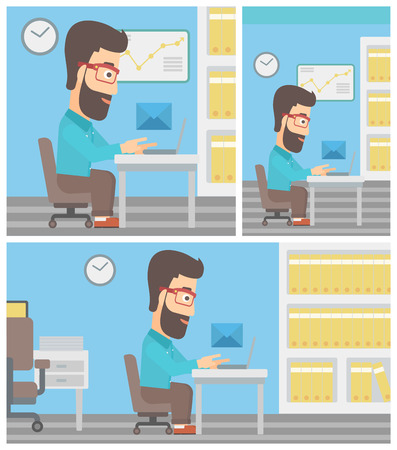 recieve: Young hipster businessman working on his laptop in office and receiving or sending email. Business technology, email concept. Vector flat design illustration. Square, horizontal, vertical layouts. Illustration