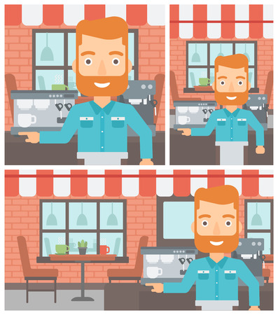 barista: A hipster barista with the beard sanding in front of coffee machine. Barista at coffee shop. Barista making a cup of coffee. Vector flat design illustration. Square, horizontal, vertical layouts. Illustration