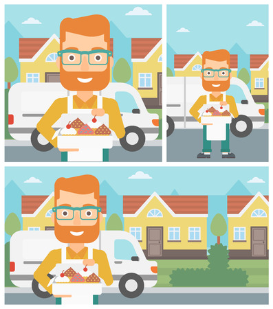 cartoon cake: Hipster baker holding a box of cakes. Baker delivering cakes. A baker with cupcakes standing on the background of delivery truck. Vector flat design illustration. Square, horizontal, vertical layouts. Illustration