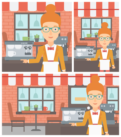 barista: Young female barista sanding in front of coffee machine. Barista at coffee shop. Professional barista making a cup of coffee. Vector flat design illustration. Square, horizontal, vertical layouts.
