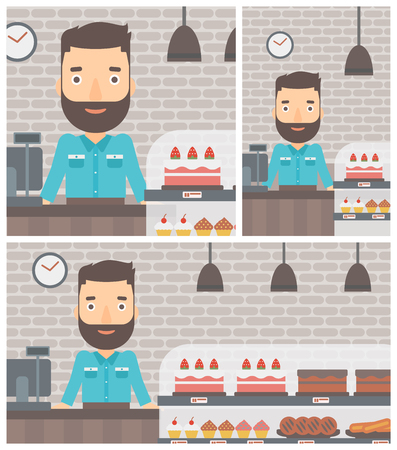 bakery products: A hipster bakery worker offering different pastry. A bakery worker standing behind the counter with cakes at the bakery. Vector flat design illustration. Square, horizontal, vertical layouts.