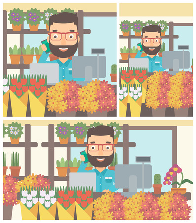 small business computer: A hipster florist with the beard using telephone and laptop to take orders. A florist standing behind the counter at flower shop. Vector flat design illustration. Square, horizontal, vertical layouts.
