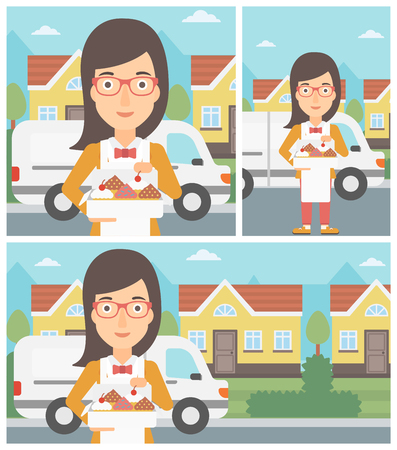 baker cartoon: Female baker holding a box of cakes. A baker delivering cakes. Baker with cupcakes standing on the background of delivery truck. Vector flat design illustration. Square, horizontal, vertical layouts. Illustration