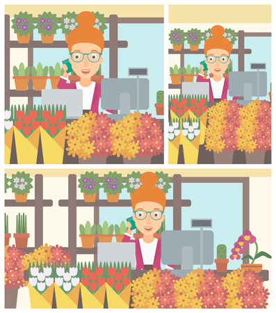 small business computer: A female florist using telephone and laptop to take orders for flower shop. A florist standing behind the counter at flower shop. Vector flat design illustration. Square, horizontal, vertical layouts.